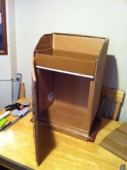 It takes lots of cardboard boxes to make this cabinet. Building up strength in the relatively narrow cardboard walls is vital.